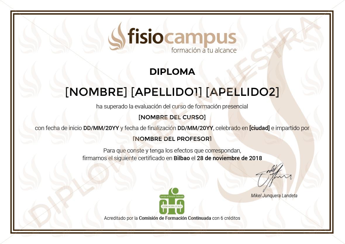 Diploma de FisioCampus de ejemplo con marca de agua